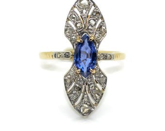 Old gold, Platinum, Sapphire and diamond ring