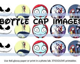 "Halloween Jack Skellington Disney Nightmare before christmas printables 4x6 - 1"" circles, bottle cap images, stickers"