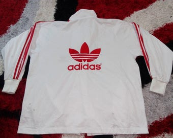 RARE!!! Vintage Adidas Windbreaker Sweater Zipper Big Spell Out Embroidery Red Color Three Stripe