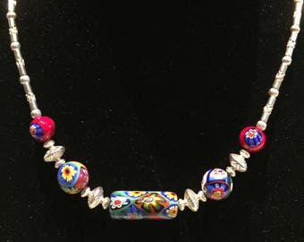 Stunning Venetian millefiori and sterling silver beaded necklace