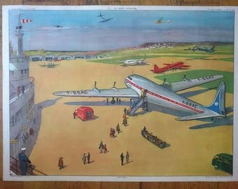 French vintage school educational plate poster large & double sided Airport Airplane Aeronautics Aviation