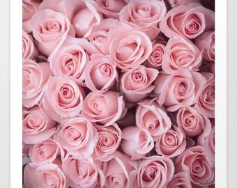 Pink Roses Art Print, Pink Roses Wall Art, Flower Art Print, Flower Wall Art, Pink Flower Art Print, Feminine Art Print, Blush Pink Wall Art