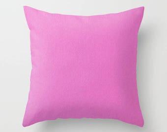 Sold Pink Pillow, Hot Pink Square Pillow, Pink Accent Pillow, Fuchsia Pillow, Purple Accent Pillow, Dorm Pillows, Feminine Decorative Pillow