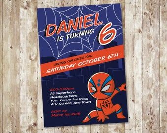 Spiderman Invitation Printable / Birthday Invitation Spiderman Superhero  Kids Party Printable Download   Design ID: