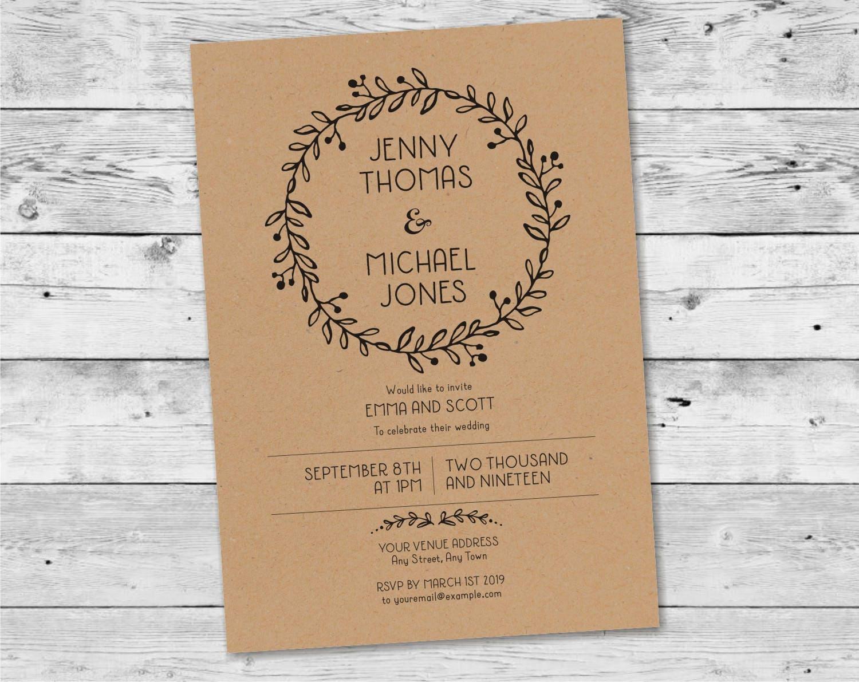 Rustic Wedding Invitation Printable / Kraft Wedding Invite Fall ...