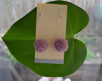 Mauve Pom Pom Earrings