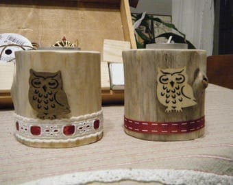 set of 2 candlesticks Driftwood decoration owls and ribbons