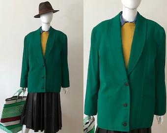 80s oversized wool blazer / green blazer / size L / made in France
