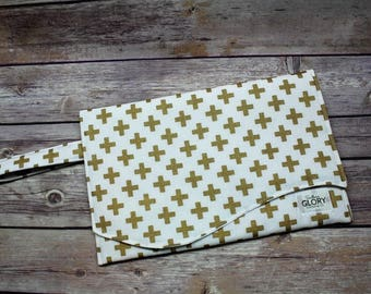 Gold Cross Diaper Clutch | Nappy Clutch | Diaper Wristlet | Diaper Bag Organizer | Shabby Chic | Gold Dot | Swiss Cross | Boho Clutch