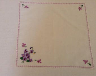 Vintage Handkerchief - Hand Embroidered Violets