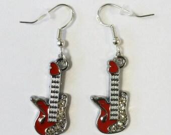 Fancy Guitar Earrings #diamonte earrings #silver earrings #Guitar #Music #Jewellery #gift for her #birthday #Christmas gift #fancy Earrings