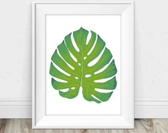 Monstera Wall Art - Monstera Print, Monstera Leaf Print, Monstera Deliciosa, Monstera Leaf Art, Monstera Printable, Monstera Art Print