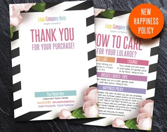 Thank You card, Care card, with blank, custom card, home office approved font & color, Thank You Cards, for lularoe consultant, TC 9v2