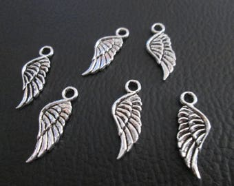 10 charms small wing 21 x 8 mm antique silver