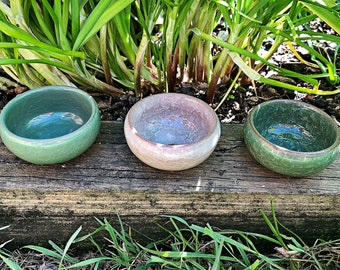 Set of 3 Handmade Mini Succulent / Cactus Pot Cracked Ceramic Decor Pot Planter or Vessel Wedding / Easter Present