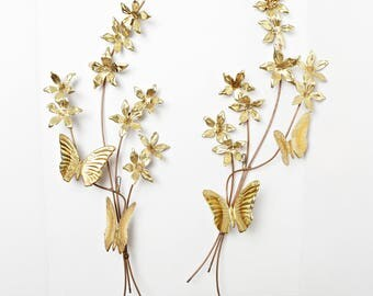 Set of 2 Vintage Butterfly Wall Art-Brass Wall Decor Butterflies and Flowers-Brass & Copper Butterfly And Flower Hanging Wall Plaques
