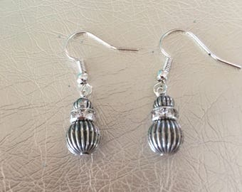 Silver earrings, silver dangle earrings with crystal rondells and silver findings.  Silver ear wires.