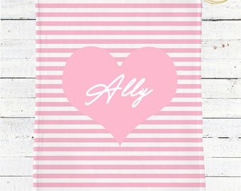 Pink And White Baby Blanket Personalized Girl / Custom Baby Blanket / Heart Baby Blanket Girl / Pink And White Baby Shower Gift / Plush Baby