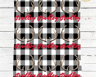 Black And White Buffalo Plaid Blanket / Antler Baby Blanket / Name Baby Blanket Boy / Antler Baby Boy Gift / Buffalo Check Baby Blanket