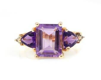 10K Amethyst & Diamond Ring - X4146