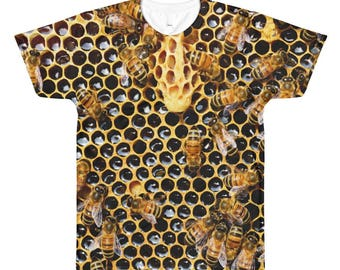 Honeycomb Bumble Bees Both Sides All Over Print T-shirt