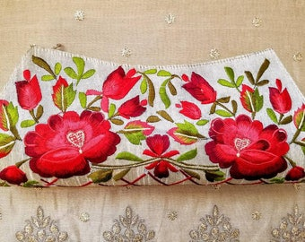 Embroidered clutch floral clutch embroidered evening bag India clutch beige clutch red roses clutch gifts for her