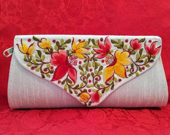 Embroidered floral clutch envelope clutch red yellowIndia gifts for her