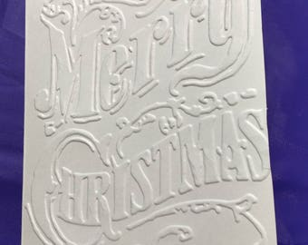 "Christmas card.  Ivory 4"" x 5.5"" embossed blank note card.  5 cards/envelopes"