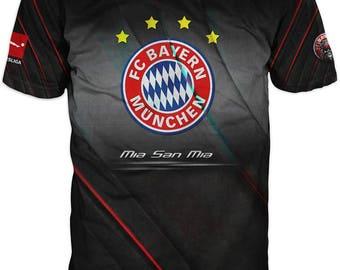 Print 3D  High Quality  Print Fans Short Sleeve t-shirt Bayern Munchen