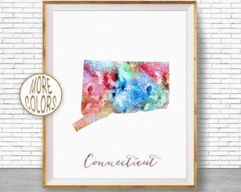 Connecticut Print Connecticut Art Print Connecticut Decor Connecticut Map Art Print Map Artwork Map Print Map Poster ArtPrintZone