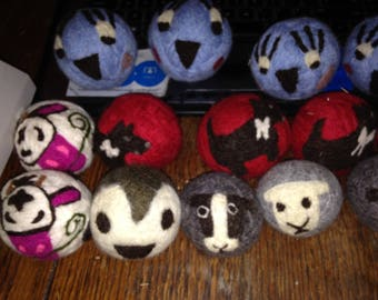 Wool Dryer Balls with or with out designs! Handmade, Needle felted, also can be use for babys, cats, and dogs toys!