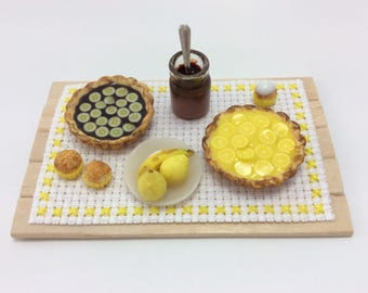 polymer clay miniature pies tray