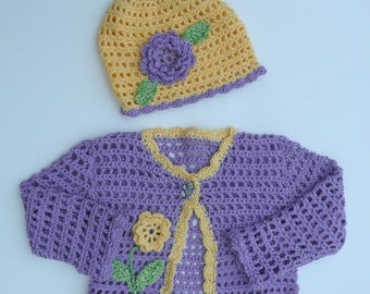 Crocheted Sweater Set.Age 1-2 Years Cropped Cardigan.Lavender and Lemon Caardigan.Cotton Sweater and Hat Set.