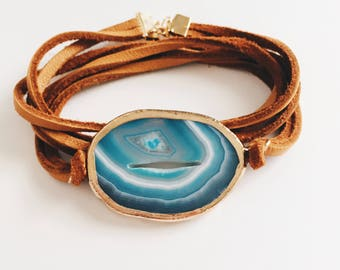 Brown Suede Wrap Gem Bracelet Blue Stone Wrap Bracelet