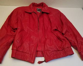 Retro Vintage Global Identity G-III Red Leather Coat Bomber Jacket Ladies size M Cool Estate Collectible Womens Fall Winter Fashions