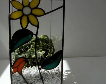 Terrarium, mini glass - tiffany stained glass, stained glass terrarium technique