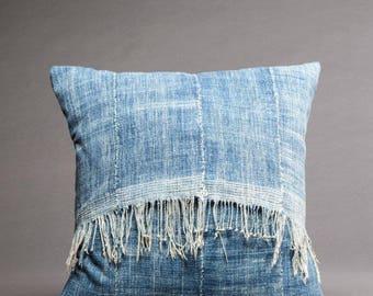 vintage fringed INDIGO pillow cover