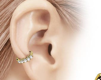 Beautiful Golden Cartilage Helix Piercing Hoop Ring with cz's 16g, 8mm