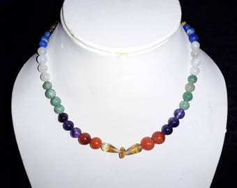 100% Natural Citrine, Carnelian, Tiger Eye & More Handmade Stones Multi Color Nacklace 16.5 Inches