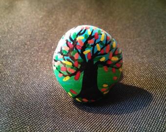 Autumn tree painted Pebble ring