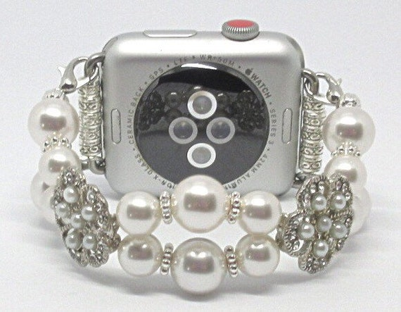 White Swarovski Pearl Size 6 1/4 - 6 1/2 Apple Watch Band, Women Bead Bracelet Watch Band, iWatch Strap, Apple Watch 38mm, 42mm