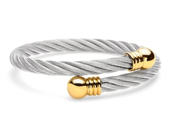 Stainless Steel Cable Bypass Twist Bangle Bracelet with Gold IP-Plated Round End Caps