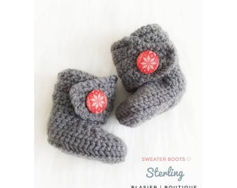 Crochet Sweater Baby Booties-Baby Boy Clothes - Baby Photo Prop - Christmas - Newborn Girl Coming Home Outfit - Baby Girl Shoes - uggs