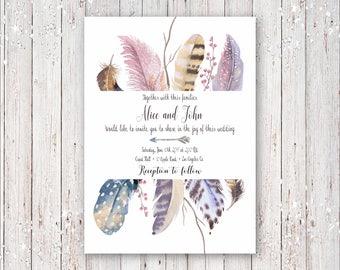 Bohemian Boho Feathers with Gold Foil Font Wedding Invitation Digital Printable