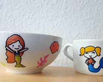 Kids breakfast set, cereal bowl and mug, mermaid bowl, mermaid cup, birthday present, kids gift idea, hand painted, popcorn, fruit, salad