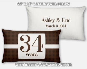 34th Anniversary Gift for Men 34 Year for Women Present Idea Him Her Gift Wife Husband Wedding Couple Pillow Personalized Parents Mom Dad