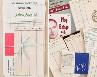 Vintage Game Sscore Cards - Bridge - Craft Paper - Ephemera - Journals - Smashbook