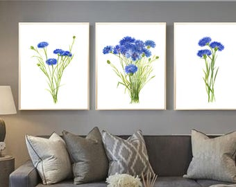 Cornflowers watercolor art print Cornflowers painting Cornflowers set of 3 Cornflowers home decor Cornflowers wall decor cornflowers poster