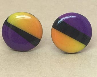 Purple and orange, polymer clay, round, studs, earrings.