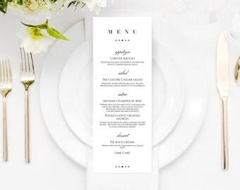 Printable Menu Cards, Wedding Menu Cards, Modern Menu Card, Elegant Wedding Menu Card, Black and White Menu Cards, Minimalist Menu Cards